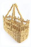 Straw shopping basket Royalty Free Stock Photos