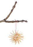 Straw snowflake on a branch for Christmas. Stock Photo