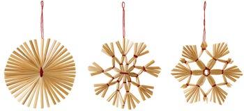Straw Snowflake Hanging Decoration Strawy snöflingajul Arkivfoton