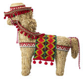 Straw  spanish donkey with  path Royalty Free Stock Image