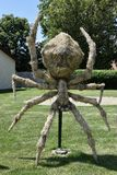 Straw Spider Sculpture. This is a Summer picture of a straw sculpture of a spider, an entry in the National Straw Sculpture competition in Mount Morris, Illinois Stock Images