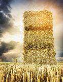 Straw square bale on against backdrop of cloudy sunset sky stock photo
