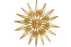 Straw star. Isolated straw star as Christmas decoration Stock Photography