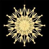 Straw Star Christmas Tree Decorations-Schwarzes Stockbild