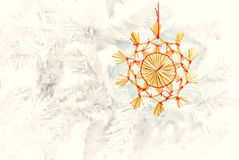 Straw star and christmas tree Royalty Free Stock Photography