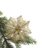 Straw star and fir branch Royalty Free Stock Photos