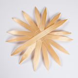 Straw star, white background, copy space Royalty Free Stock Images