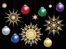 Straw Stars Colorful Christmas Balls-Nacht Royalty-vrije Stock Foto