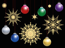 Straw Stars Colorful Christmas Balls Night Royalty Free Stock Photo