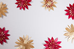 Straw stars, white background, copy space Stock Photo