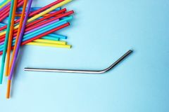 Straw Straws Metal Reusable Plastic Drinking Background Colourful Full Screen Royalty Free Stock Photos