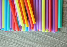 Straw straws plastic drinking background colourful  full screen single use pollution. Copy space Stock Image