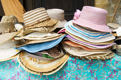 Straw summer hats Stock Images