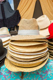 Straw summer hats Stock Photography