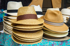 Straw summer hats Royalty Free Stock Photography