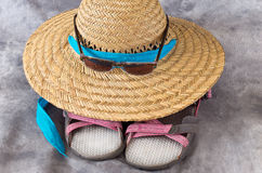 Straw Sun Hat Sunglasses and Sandals Royalty Free Stock Images