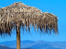Straw Sunshade. On the beach of greek village Marathonas before conflagration Stock Photo