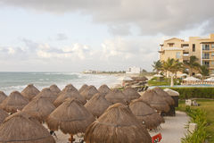 Straw Thatched Beach Huts at Tropical Resort Stock Image