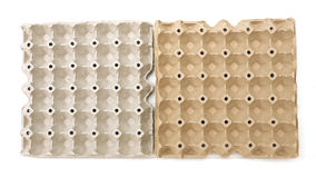Straw tray is eggs packaging isolate Royalty Free Stock Photo