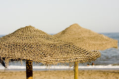 Straw umbrella Stock Photography
