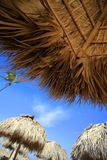 Straw umbrella on Bavaro Beach Royalty Free Stock Image