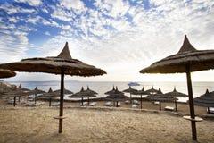 Straw umbrella on the beach, , Egypt, Stock Image