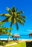 Straw umbrella on the beach in the lagoon Huahine, French Polynesia. Vertical royalty free stock images