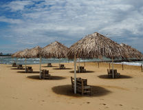 Straw umbrellas and beach loungers in a beautiful sandy beach Royalty Free Stock Photos