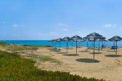 Straw umbrellas on beach Stock Images