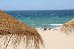Straw umbrellas on a tropical beach. Tropical beach scene with straw umbrellas in the foreground with view looking out to the ocean Royalty Free Stock Photography