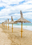 Straw umbrellas on beautifull beach in a windy day with fine san Royalty Free Stock Photo