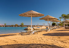 Straw umbrellas and sunbeds on the wonderful tropical beach. Stock Photography