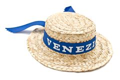 Straw venice hat. Straw hat with blue ribbon isolated on white Royalty Free Stock Photography