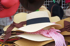 Straw weave hat for lady. In market Royalty Free Stock Photos