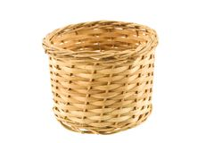 Straw weaved basket Royalty Free Stock Photos