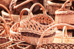 Straw wicker baskets Stock Image