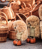 Straw wicker toys royalty free stock images