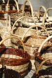 Straw wiker baskets Stock Photos