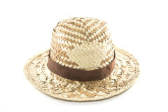 Straw Woven Hat with Brown Band Stock Photo