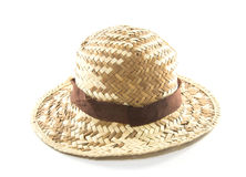 Straw Woven Hat with Brown Band Royalty Free Stock Image