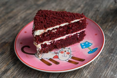Strawbarry cake on wooden table Stock Image