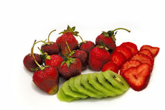 Strawbberries and kiwi. Beautiful and sweet fruit. Strawberries Royalty Free Stock Photo