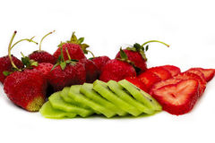 Strawbberries and kiwi. Beautiful and sweet fruit. Strawberries Stock Photography