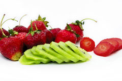 Strawbberries and kiwi. Beautiful and sweet fruit. Strawberries Royalty Free Stock Images