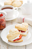 Strawbbery shortcakes with whipped cream Stock Images