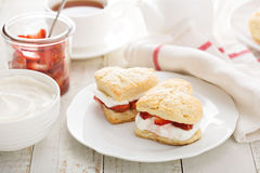 Strawbbery shortcakes with whipped cream Royalty Free Stock Image