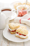 Strawbbery shortcakes with whipped cream Stock Image