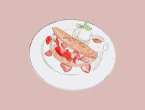 Strawbeery waffle with fresh cream, honey and vanilla ice-cream. Hand drawn water color sketch vector Stock Images