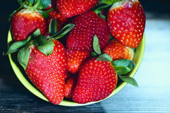 Strawberies in a bowl. Royalty Free Stock Photos