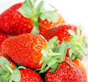 Strawberries. Fresh macro of a pile of strawberrries. Slightly overexposed for an accurate pure white royalty free stock image